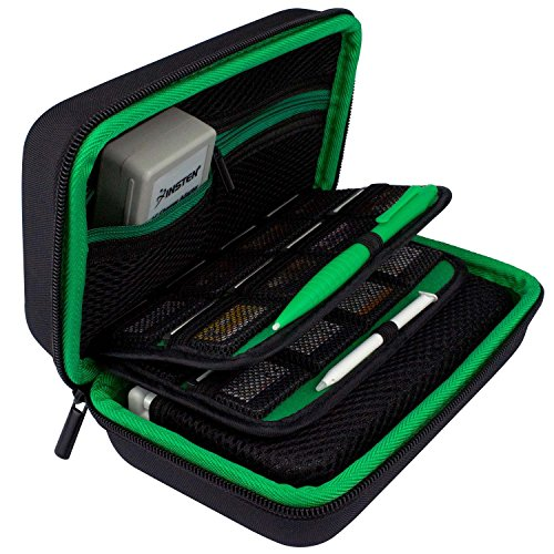 New 3DS XL Case by TAKECASE - Compatible with New 2DS XL - Travel Carrying Case Includes XL Stylus, Protective Hard Shell, 16 Game Storage, Accessories Pouch - Green/Black [UPDATED FEB 2018]