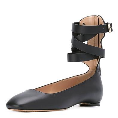 a87a0fe3ea8 NJ Women Stylish Closed Toe Flats Ankle Strap Pumps Low Heels Comofrtable  Buckled Shoes Black 6