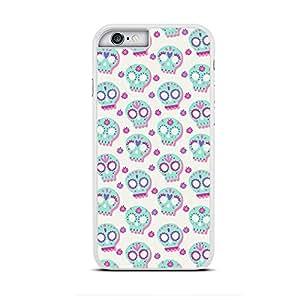 Funda carcasa para Apple iPhone 6-6S diseño estampado calaveras mejicanas color azul turquesa y malva borde blanco