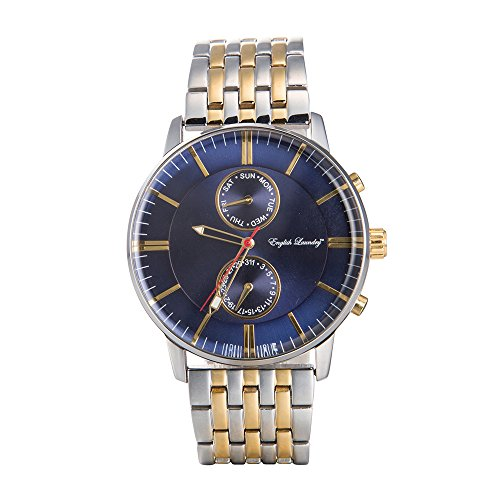 English Laundry Men's Watch EL7955S236-102 Steel and Gold Tone, Blue Dial, (Gold Tone Blue Dial)