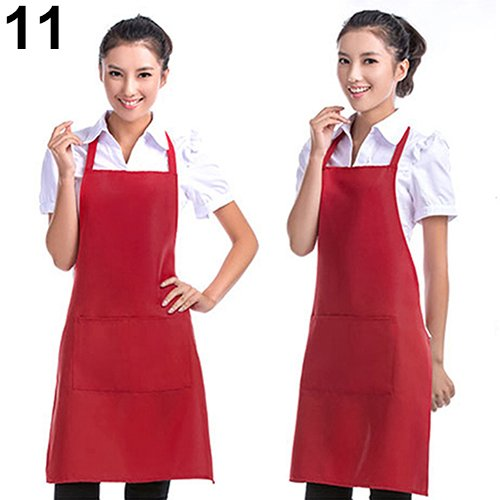 t0uvtrukCs Pockets Bib Apron, Unisex Simple Pure Color Kitchen Restaurant Cooking Apron Women Mum Gift Red (Hot N Fresh Out The Kitchen Apron)