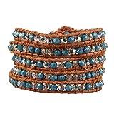 KELITCH Fashion Wrap Bracelet Faceted Green Jasper Stone Bracelet On Brown Leather Vintage Summer Jewelry