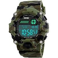 Kids Militar reloj digital con temporizador alarma reloj deportivo ejército muñeca relojes impermeable para Boys–seewta