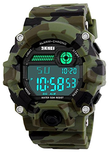 Kids Military Digital Watch With Timer – Waterproof Sports Watch Army Alarm Wrist Watches For Boys SEEWTA