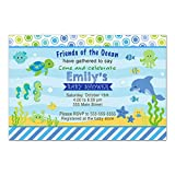 30 Invitations Boy Baby Shower Aquarium Under The Sea Animals Personalized Cards + 30 White Envelopes