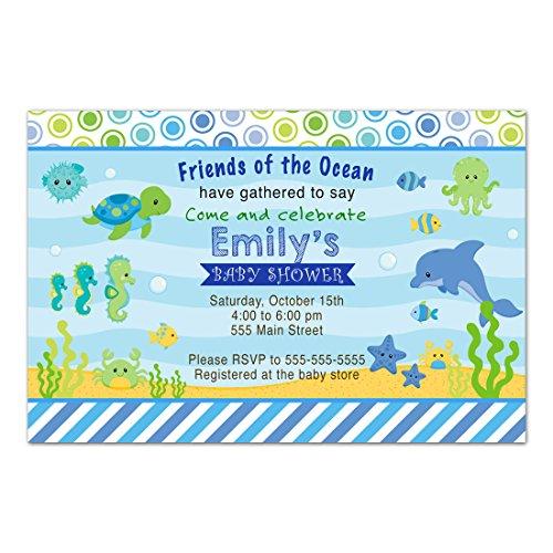 30 Invitations Boy Baby Shower Under The Sea Aquarium Photo Paper