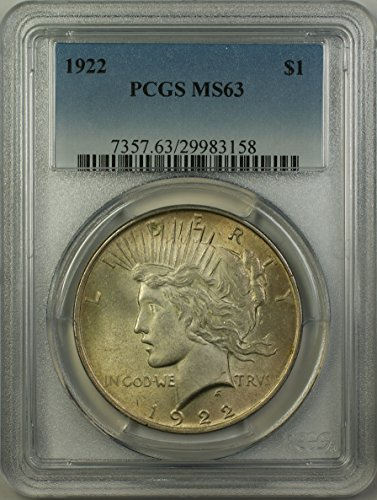 1922 Peace Silver Dollar Coin (ABR11-T) Light Toning $1 MS-63 PCGS
