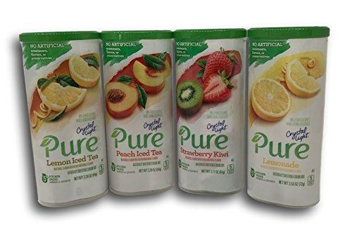 Crystal Light Pure Drink Mix Pitcher Pack 4 Flavor Variety Lemonade, Strawberry Kiwi, Peach Iced Tea, Lemon Iced Tea
