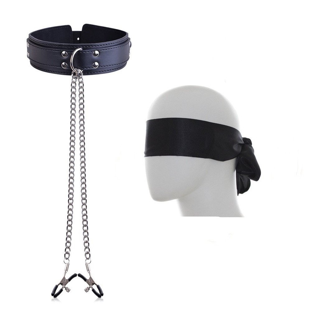 SM Neck Collar Nipple Clamps Clips with Metal Chain and Satin Eye Mask Blindfold Nipple Toys Fashion Nipple Jewelry