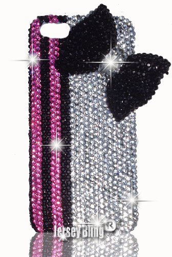 Jersey Bling® Luxury Czech Crystal with HUGE 3D Black Bow Iphone 4/4s Case, Cover w/3D HUGE Bow