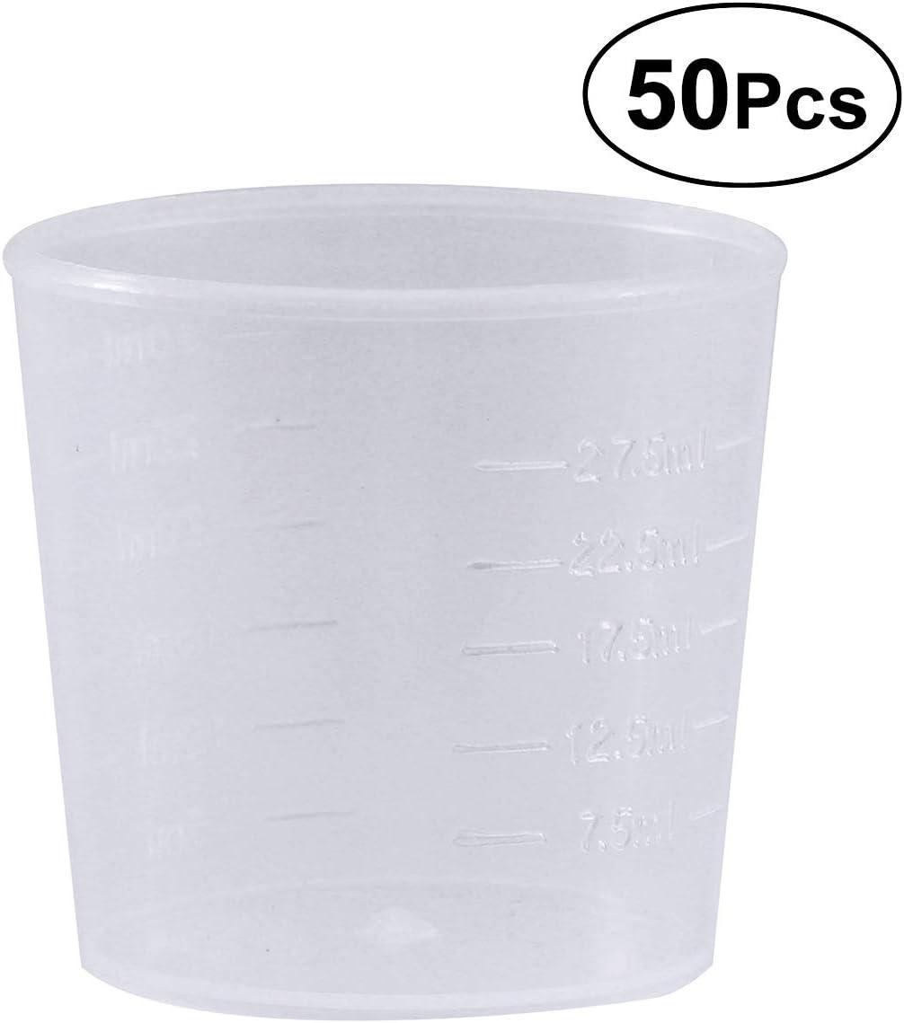 30ml OUNONA 50pcs Tasses en Plastique gradu/é b/écher Graduation Tasses Transparentes Le m/élange la Peinture