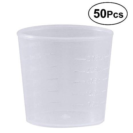 OUNONA - Juego de 50 Vasos graduados de plástico de 30 ML para medir la báscula