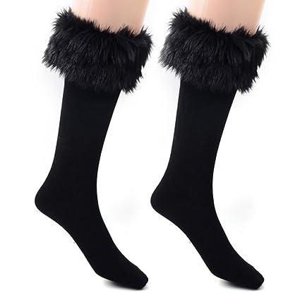 LEORX Calcetines de arranque calcetines nieve calcetines calentador de la pierna de las mujeres con manguito
