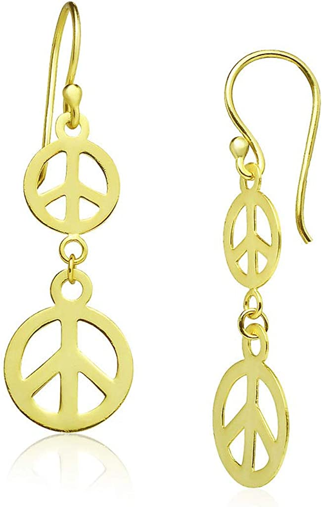 Big Apple Hoops - High Polish Lightweight Sterling Silver Double Peace Sign Drop Dangle Earrings Made from Solid 925 Sterling Silver in 3 Color Rose, Silver, Gold Gifts for Men, Teens, Women