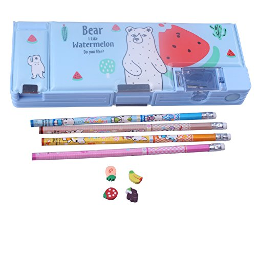 Kids Boy girl Student Blue Multifunctional Plastic Pencil Bo