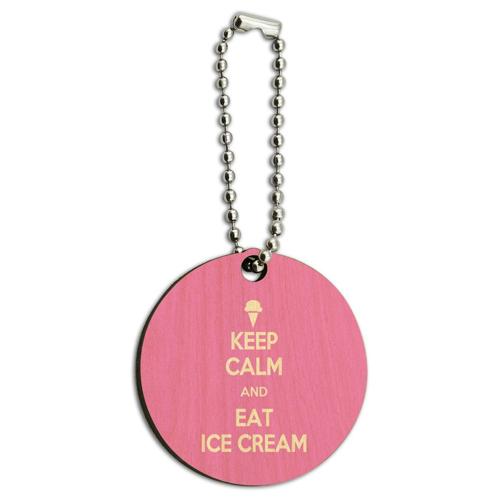 Keep Calm and Eat Ice Cream Wood Wooden Round Key Chain