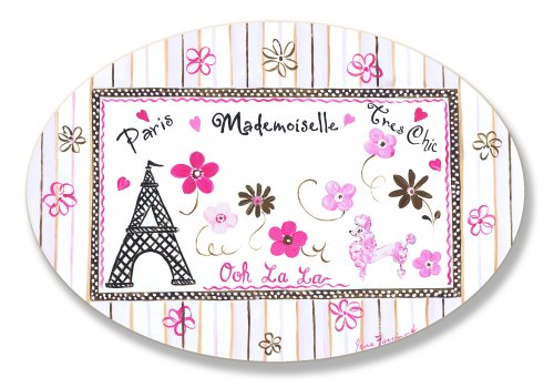 (The Kids Room by Stupell Paris Madamoiselle Tres Chic with Eiffel Tower Oval Wall Plaque)