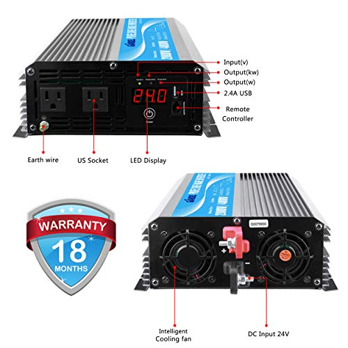 Giandel 2000W Pure Sine Wave Power Inverter DC 24V to AC120V with Dual AC Outlets with Remote Control 2.4A USB and LED Display by Giandel (Image #1)