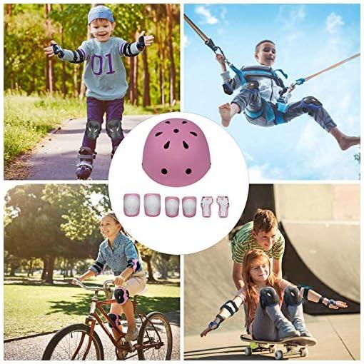 APJJ 7 en 1 Rollerblade Protector Set, Protector Inliner Skates with Casque Genouillères Coudières Protège-Poignets, Skateboard Protecteurs Inliner pour Hoverboard, Vélo,Rose