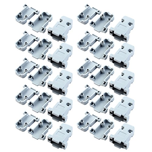 uxcell 20 Pcs Plastic Cover Shell Housing Gray for D Sub DB9 9Pin Connector (D-sub Hood)