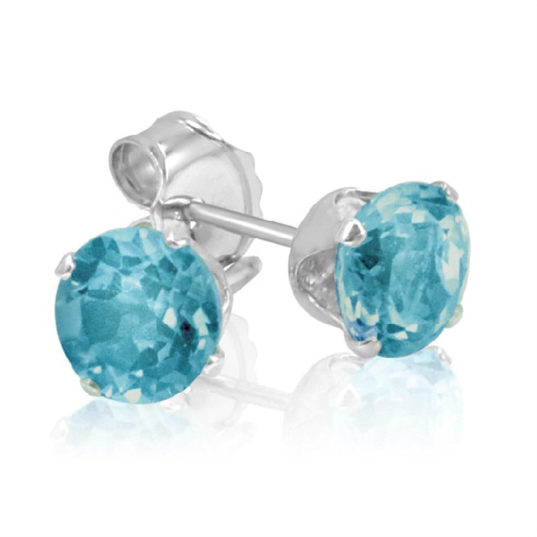 Amazon: Swiss Blue Topaz Stud Earrings Set In Sterling Silver ( 1ct Tw  5mm): Jewelry