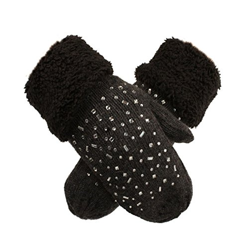 Ladies Winter Microfiber Lined Rhinestone Bling Knit Warm Mitten Gloves Charcoal