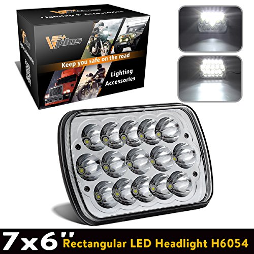 Partsam 1PC 5 x7 inch 6 x 7 inches Rectangular LED Headlights Replacement for Jeep Wrangler YJ Cherokee XJ Trucks 4X4 Offroad Headlamp H6054 H5054 H6054LL 69822 6052 6053 (Pack ()