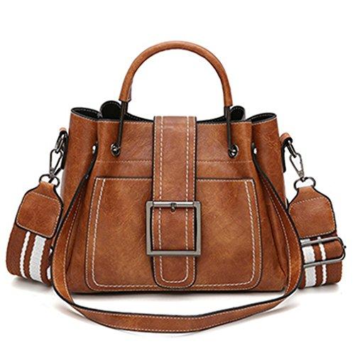 brown2 Metal Sac Solid Bag Fashion Handbag Ladies Tote Women Women Handle Pin Casual Pu Type Leather Shoulder Soft Bag Bag HfAnq1w