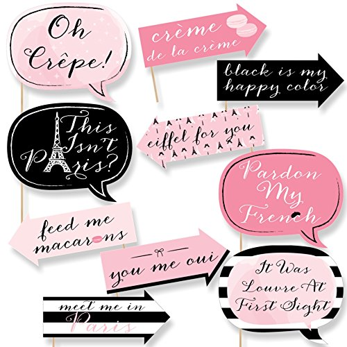 French Photo Booth Props (Big Dot of Happiness Funny Paris, Ooh La La - Paris Themed Photo Booth Props Kit - 10)