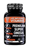 omega 3 6 9 pharmaceutical grade - LIV Premium Super Omega Complex, 1500mg Maximum Strength Omega 3,5,6,7,9, High EPA, DHA, DPA & Astaxanthin, Supports Healthy Brain, Heart, Joints, Mercury Free, Burpless, Non-GMO, Made in USA