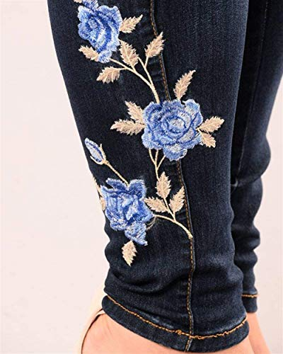 Dunkelblau Cintura Bordado Mujer Jeggings Basic B Hx Fashion Pantalones Delgados Alta Mezclilla De nBOx7YwqR