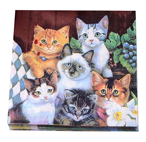 Printed Cats Paper Napkins Tea Party Shower Luncheon Serviettes (Folding Christmas Napkins)