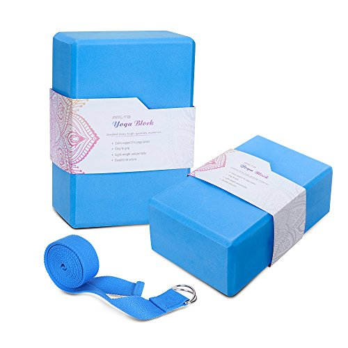 "Arltb Yoga Block Brick Strap Set of 2 Eco-Friendly EVA Foam Brick Plus Yoga Strap Metal D-RingProvides Stability Balance Support Improve Strength (9""x6""x4"") (Blue, 469 inch)"