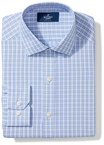 Buttoned Down Men's Fitted Spread Collar Pattern, Mini Blue Glen Plaid, 19