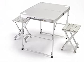 World Outdoor Products Two Person Suitcase Style CAMP MASTER Lightweight  Aluminum Portable Folding Camping Table With