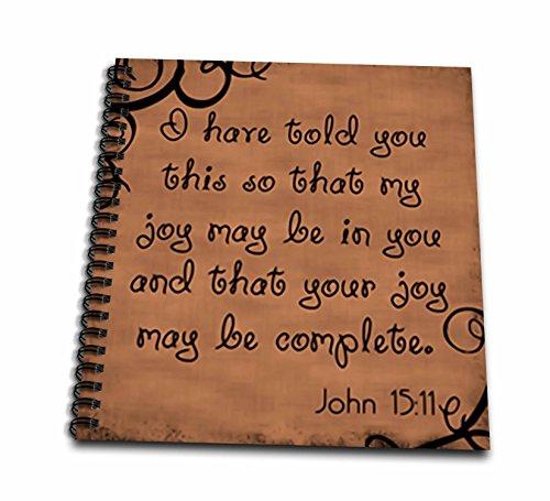 3dRose db_150069_2 Bible Verse John 15-11 Brown Background Bible Christian Inspirational Saying Memory Book, 12