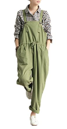 f302cf10d40 Soojun Women s Linen Classic Long Bib Overalls Rolled up Pant with  Drawstring
