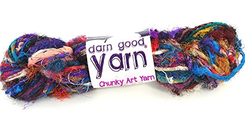 (Darn Good Yarn Recycled Handmade Sari Silk Ribbon The Blender Multicolor Fabric | Silk Ribbon Knitting Yarn, Crochet Yarn, Jewelry Making, Weaving Yarn, Gift Wrapping Ribbon | 100 gram, 55 yard ribbon)