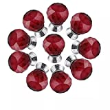 CSKB RED 10 PCS 40mm Good-quality Crystal Glass Diamond Cut Door Knob Kitchen Cabinet Drawer Knobs+Screw Home Decoration 8 Colors Available