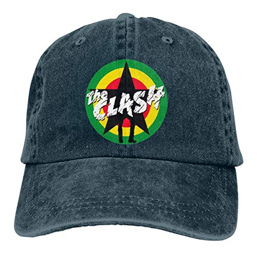 Logo Pigment - Smooffly Unisex The Clash Logo Women&Men Pigment Dyed Baseball Caps Adjustable Navy