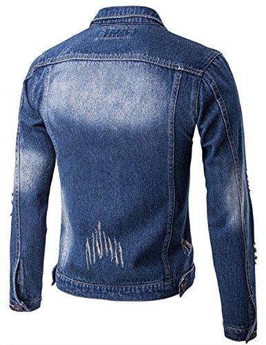 Jean Denim Lunga Outwear Di Blu Manica Da Cystyle Giacca Uomo Giù Gira Scuro rrdwHgxqn
