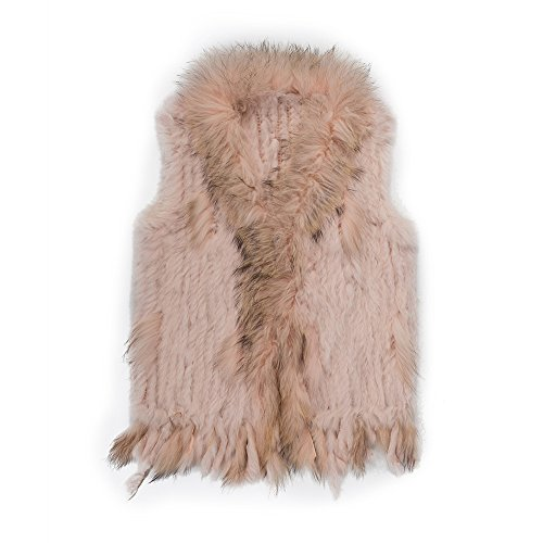 Genuine Rabbit Fur Vest (Warm Winter Mongolian Real Rabbit Fur Vest Jacket for Women(Pink,M))