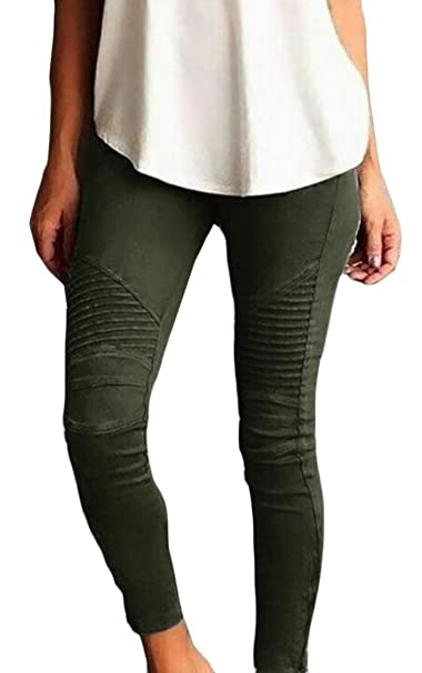 5ac78952330 YYear Womens Skinny Stretch Pleated Ankle Zipper Pencil Moto Pants Jeggings  at Amazon Women s Clothing store
