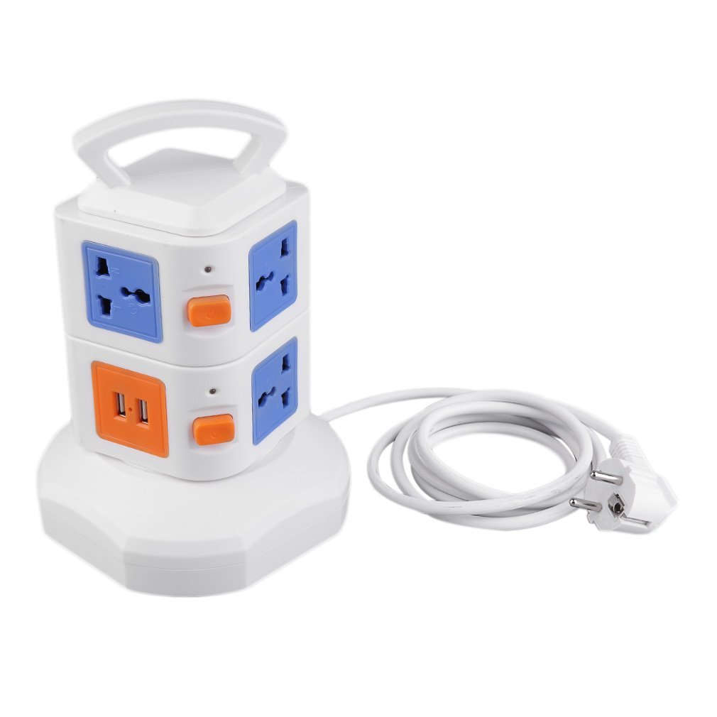 Burrby Tower Power Strip Socket, with 7 USB 3 switches Outlets Surge Protector with Overload Protection (Blue)