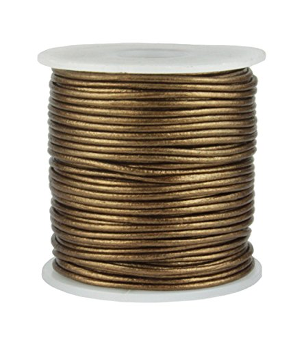 Round Leather Cord, 25 Meter Spool, 1 mm Metallic Bronze