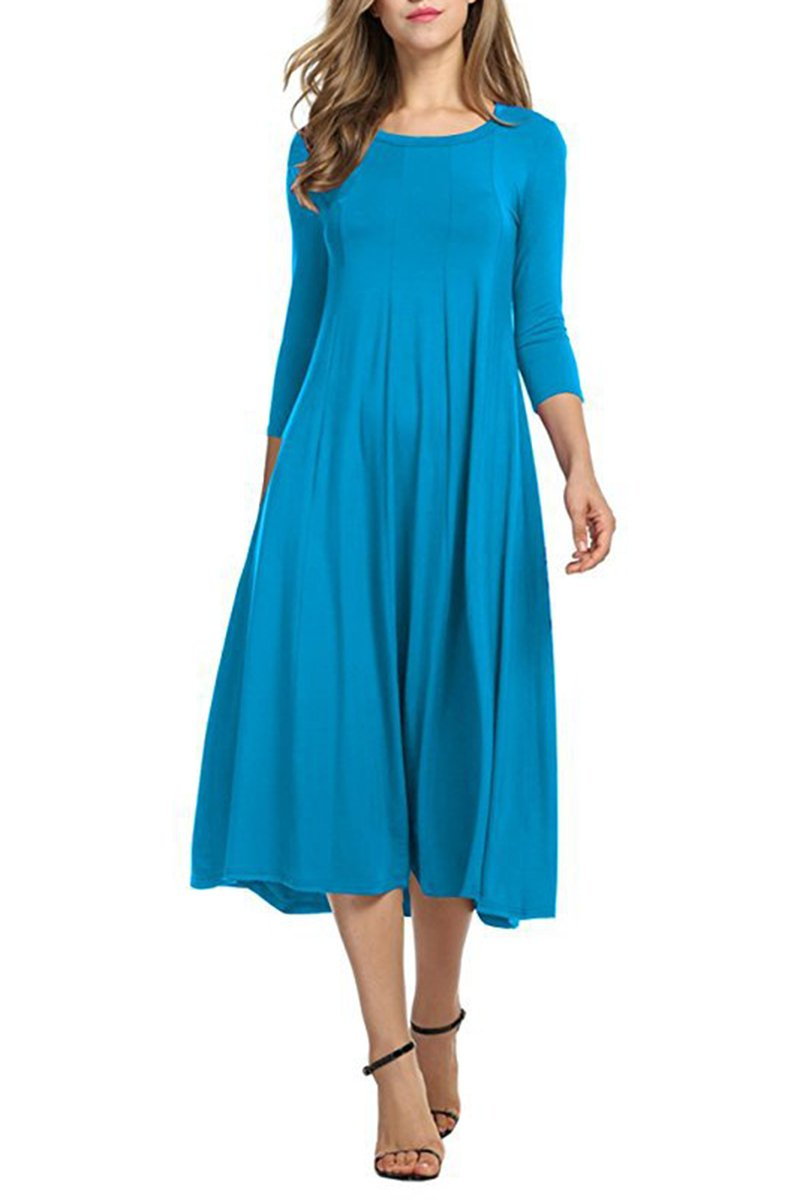 YMING Women's Dress 3/4 Sleeve Fit and Flare Loose A-line Swing Midi Dresses
