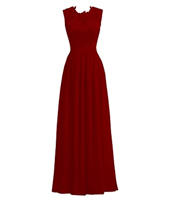 Womens A Line Long Chiffon Evening Party Gowns Lace Top Bridesmaid Dresses (US2, Burgundy