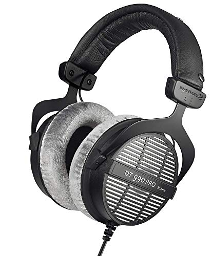 beyerdynamic DT 990 PRO Over-Ear Studio Monitor Headphones – Open-Back Stereo Construction, Wired (80 Ohm, Grey)