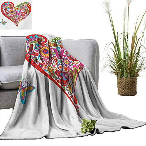 AndyTours Soft Cozy Throw Blanket,Groovy,Hippie Heart Shape with Colorful Flowers Butterfly Springtime Happy Days Design,Multicolor,for Bed & Couch Sofa Easy Care -
