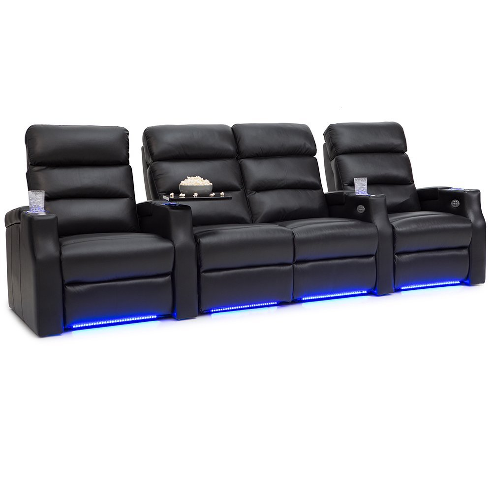 Barcalounger Matrix Leather Home Theater Seating Chairs Power Recline - (Row of 4 w/ Loveseat, Black)